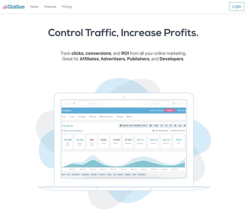 clickgum link tracking site homepage