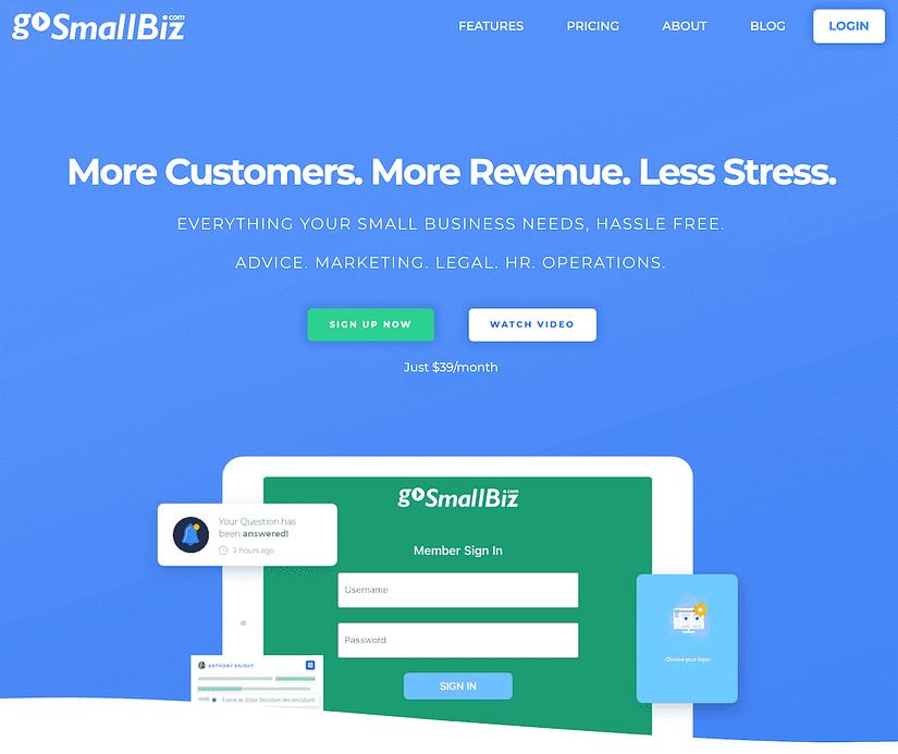 gosmallbiz screenshot homepage