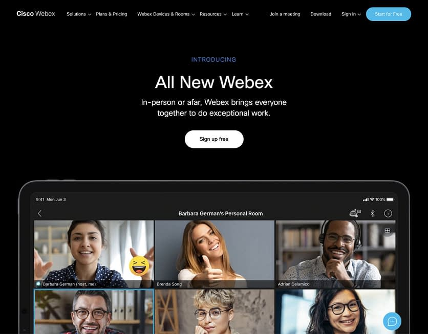 webex website screenshot