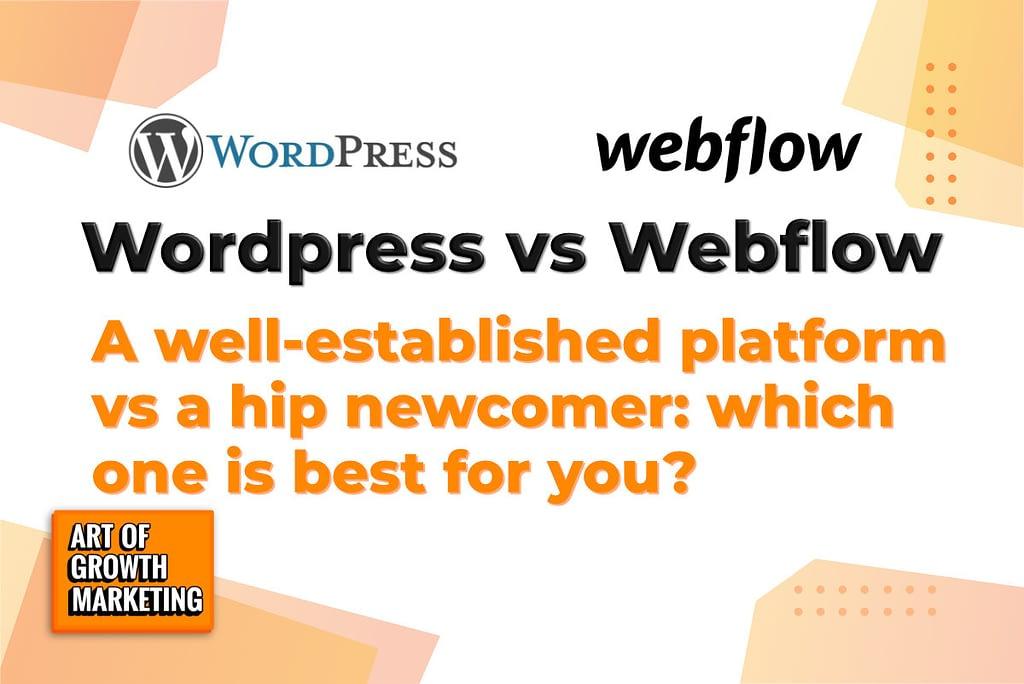 wordpress vs webflow image with logos