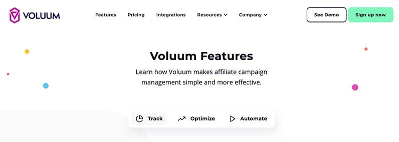 voluum screencap website homepage