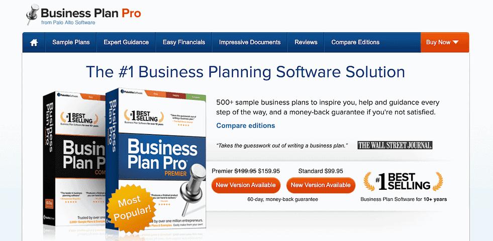 businessplanpro website screenshot