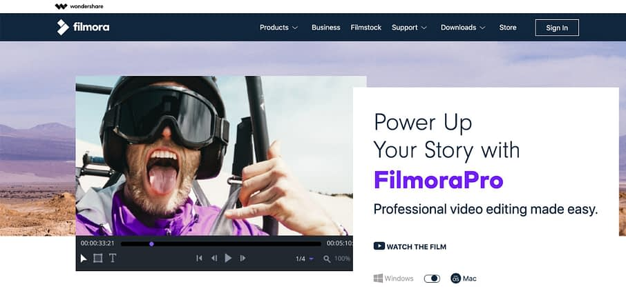 filmorapro video editing software homepage site