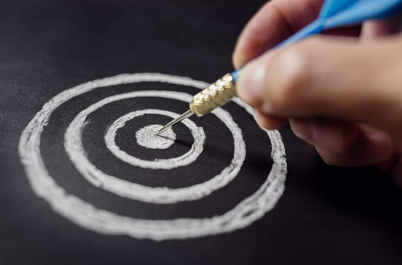 Businessman target for success