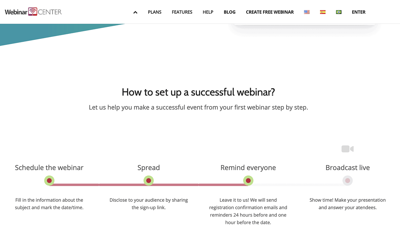 webinar center screenshot homepage