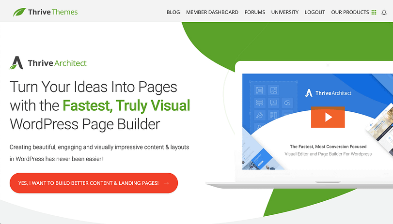 thrive architect homepage