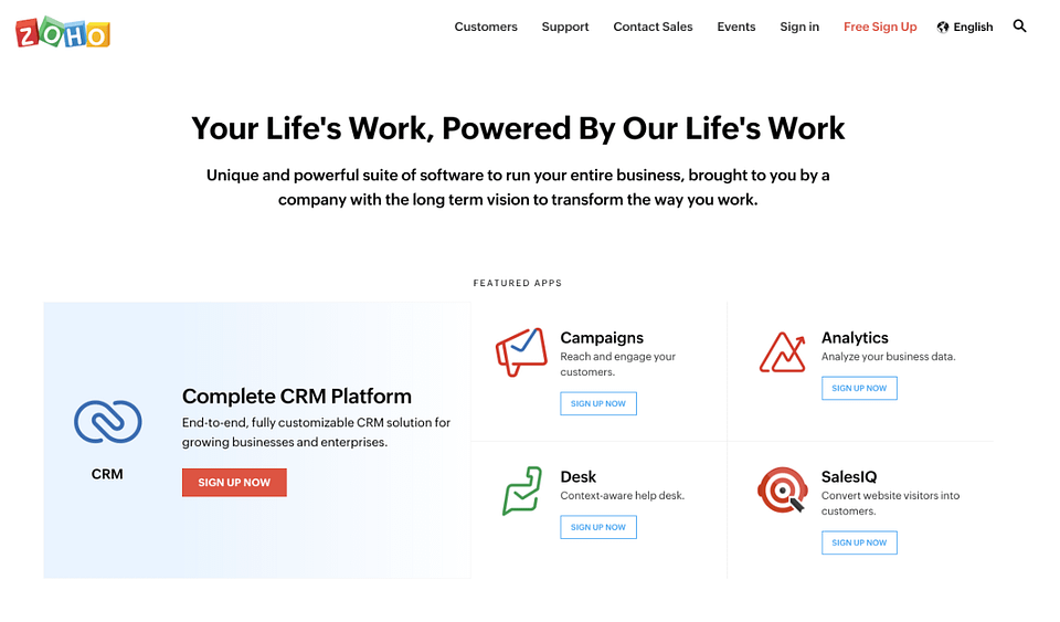 zoho crm website homepage screenshot
