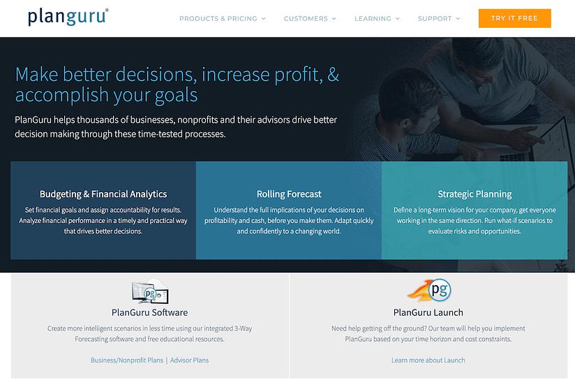 planguru planning business tool homepage