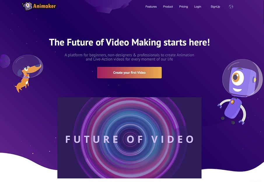 animaker animation video maker screenshot homepage